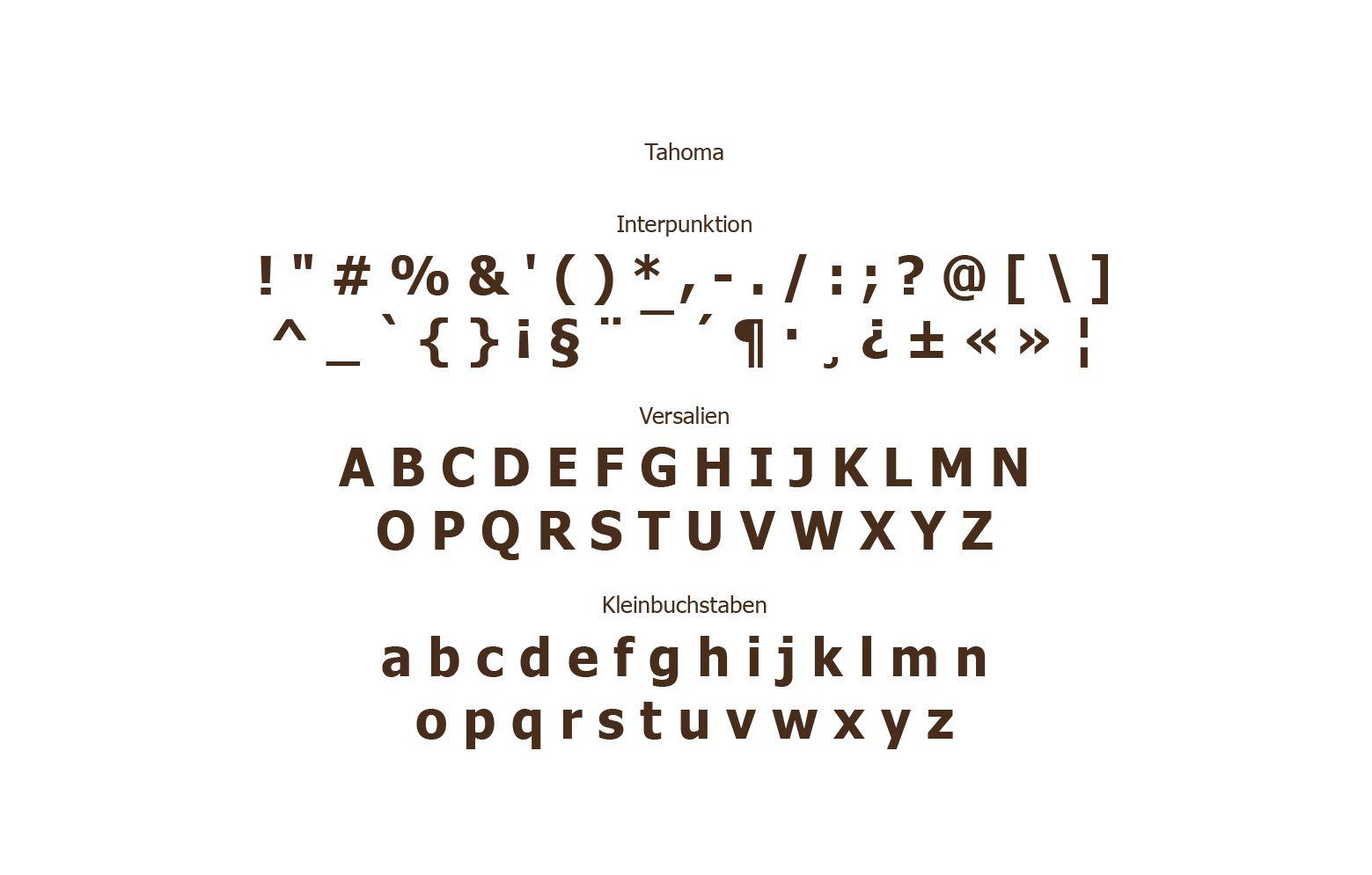 Typografie Tahoma von Kaffeemarke Black Soul