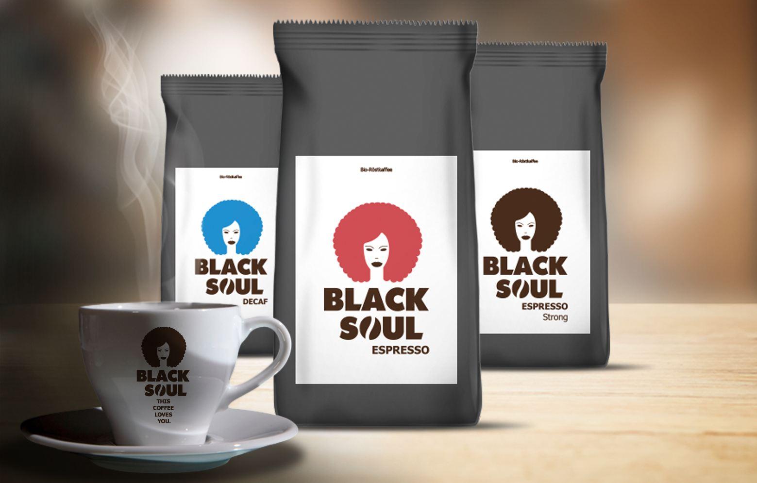 Espressotasse, mit drei Kaffeesorten von Black Soul, Espresso, Espresso strong, Decaf