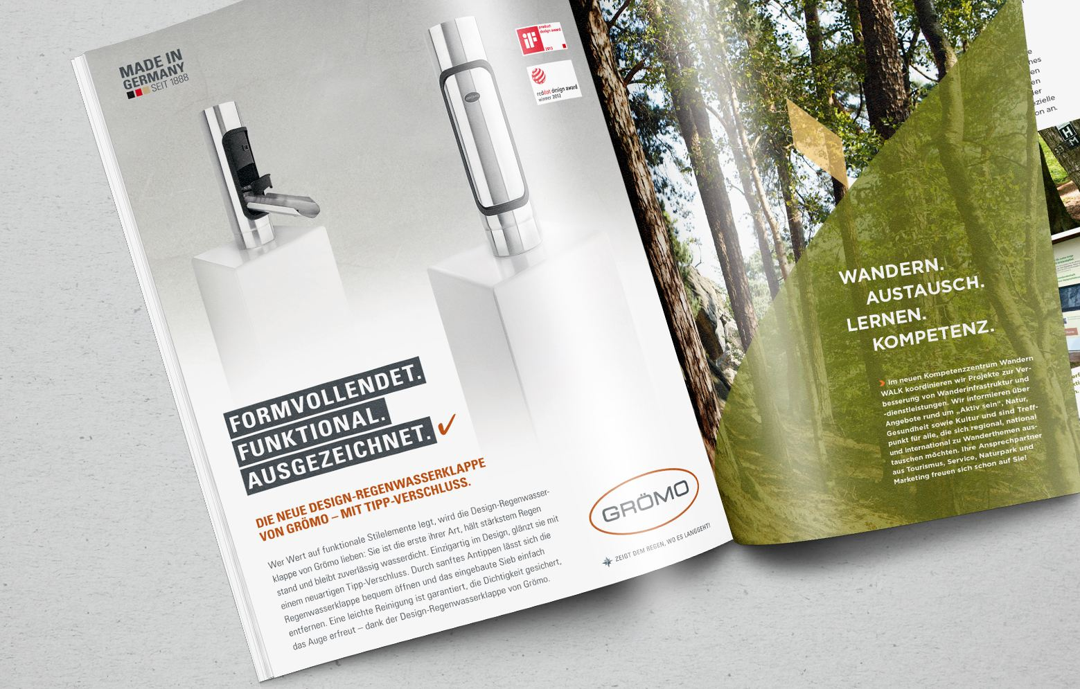 Groemo Anzeige in Zeitschrift von der Design-Regenwasserklappe