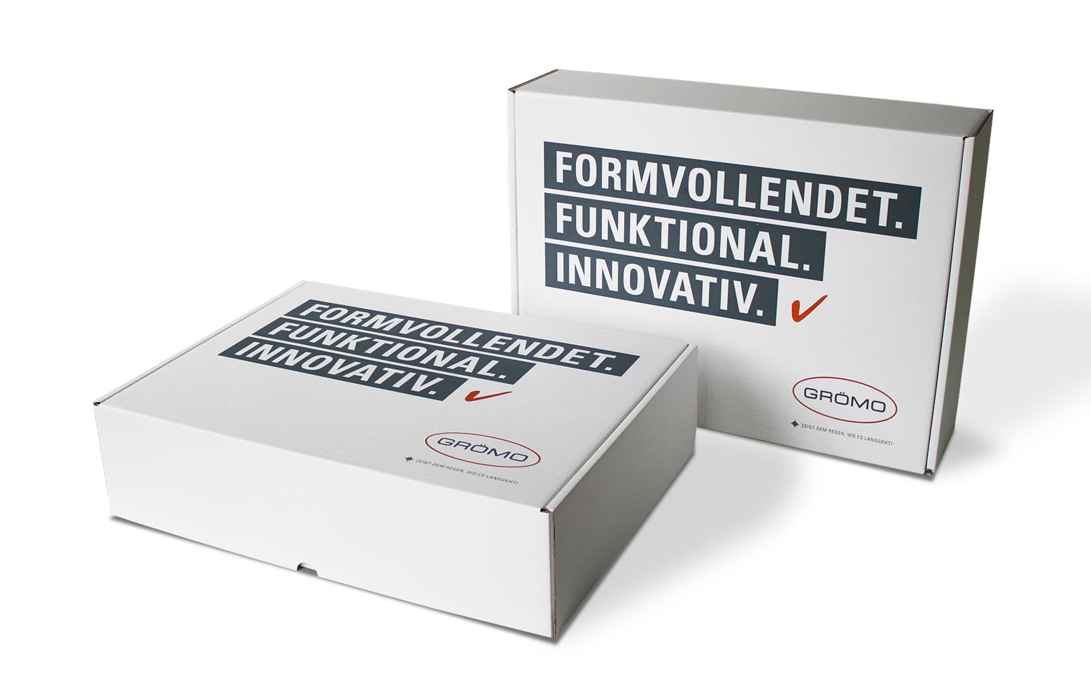 Groemo Verpackung für ein Design-Entwässerungsprodukt aus Wellpappe