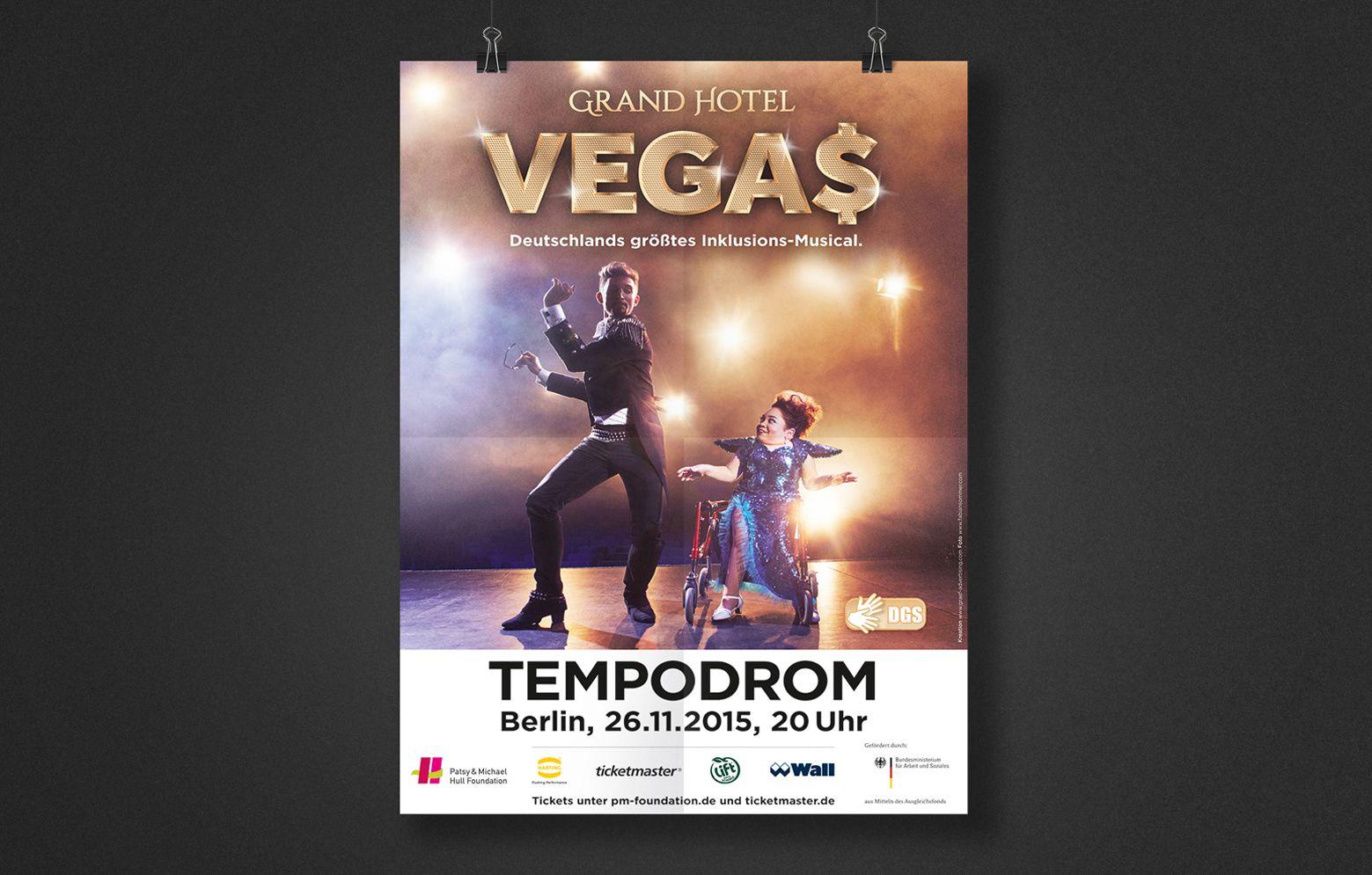 Plakat vom Grand Hotel Vegas für die Verantstaltung in Berlin, 26.11.2015, 20 Uhr