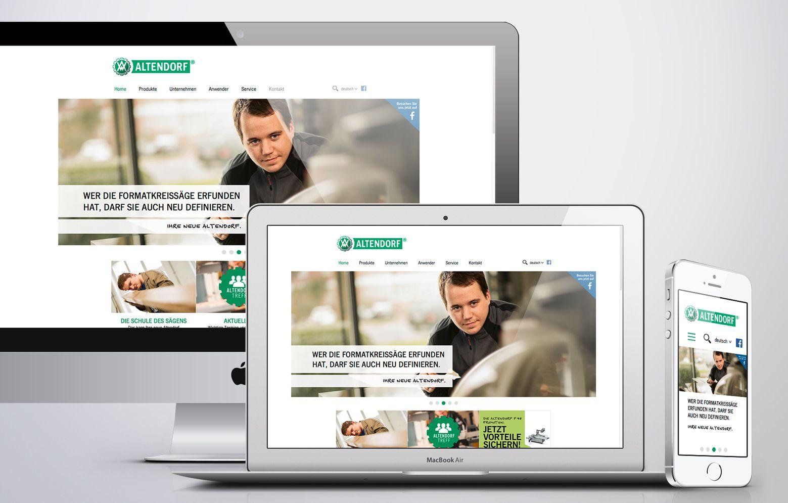Screendesign von der Altendorf Unternehmensseite