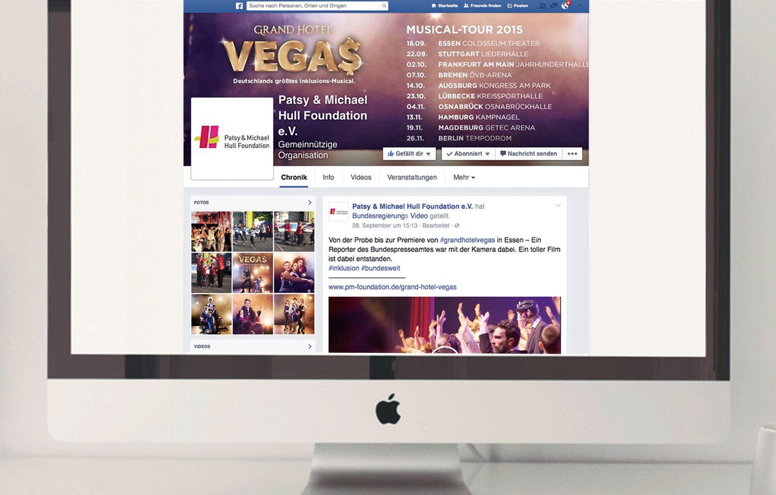 Internetscreen von Facebookseite des grand Hotel Vegas