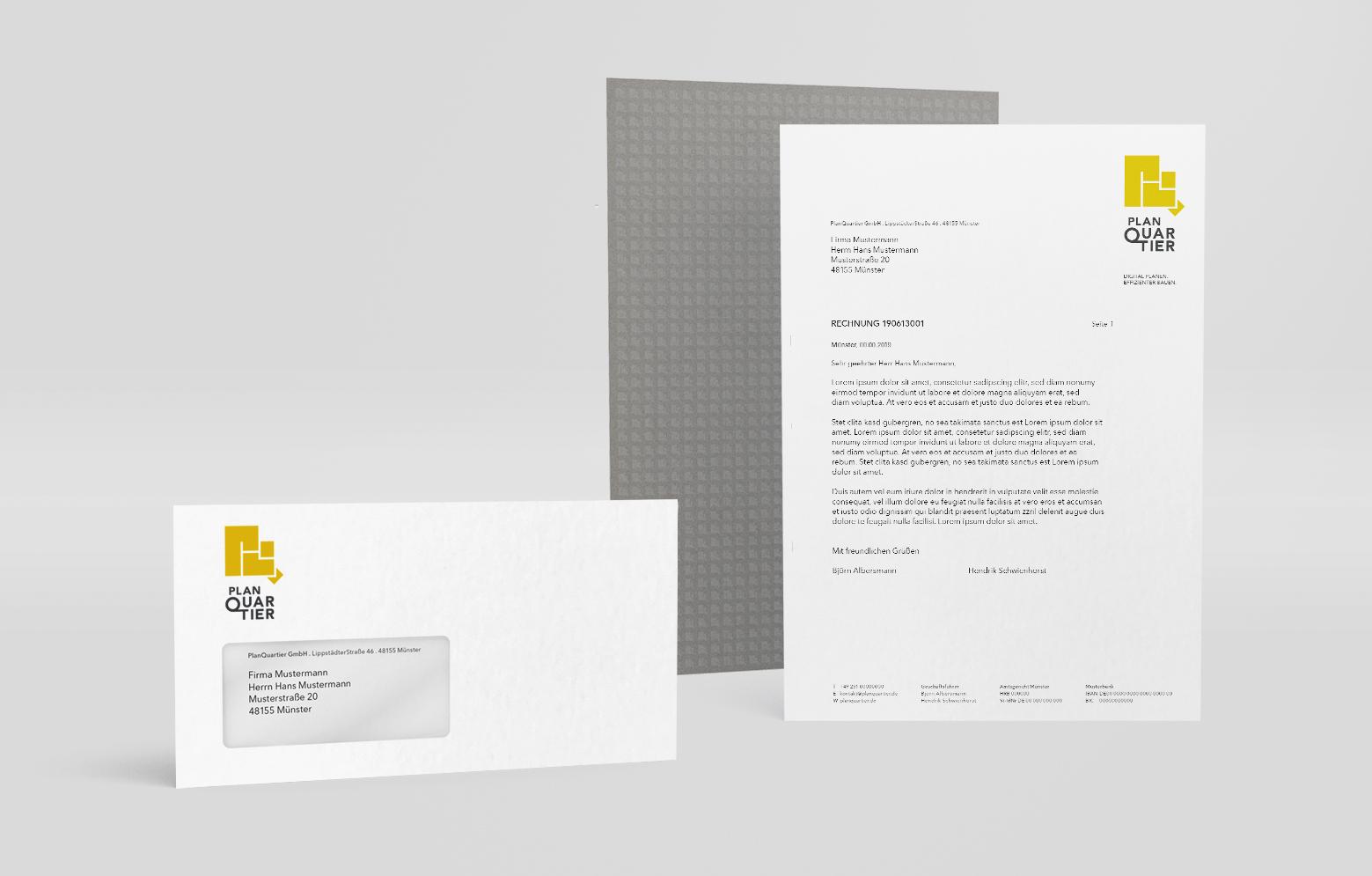 Briefbogen und Briefhülle von PlanQuartier