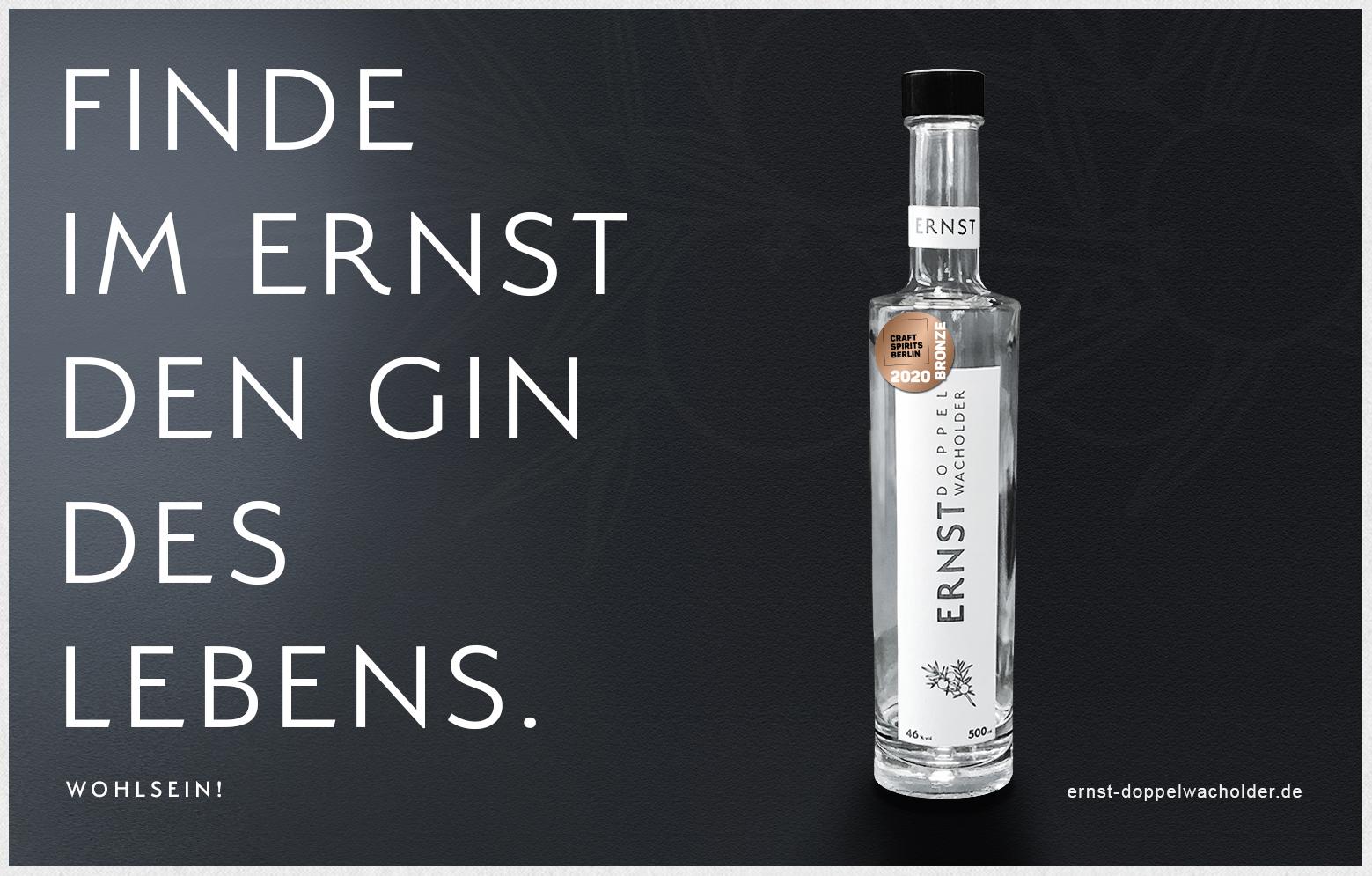 Ernst Flasche mit Headline Gin des Lebens