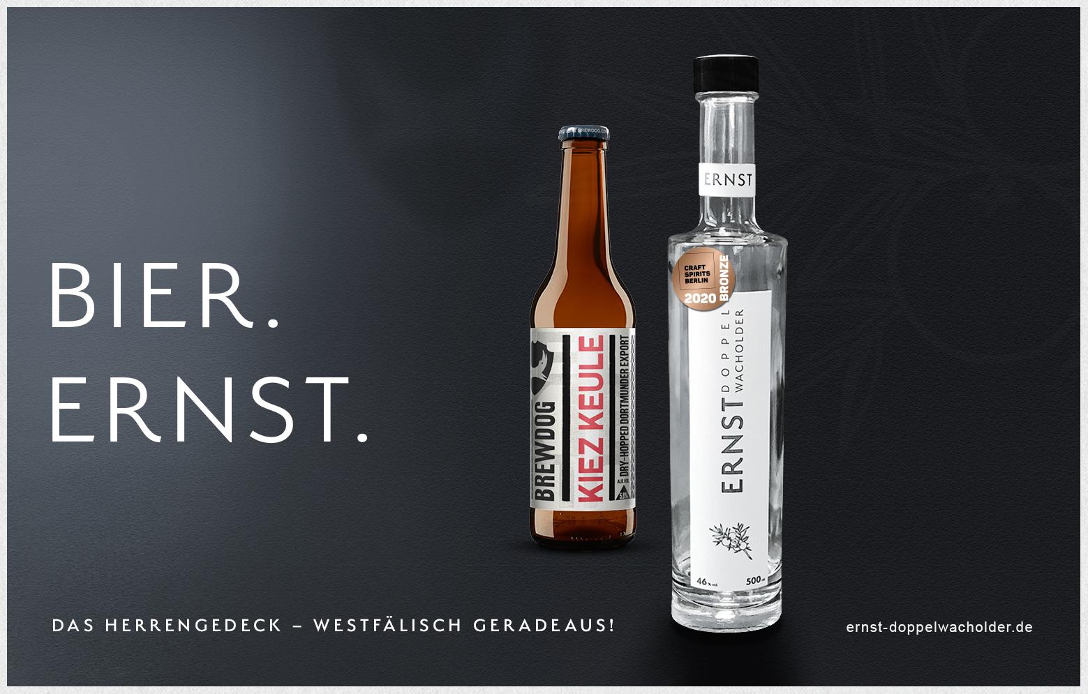 Bier. Ernst. Kiez Keule und Ernst Doppelwacholder