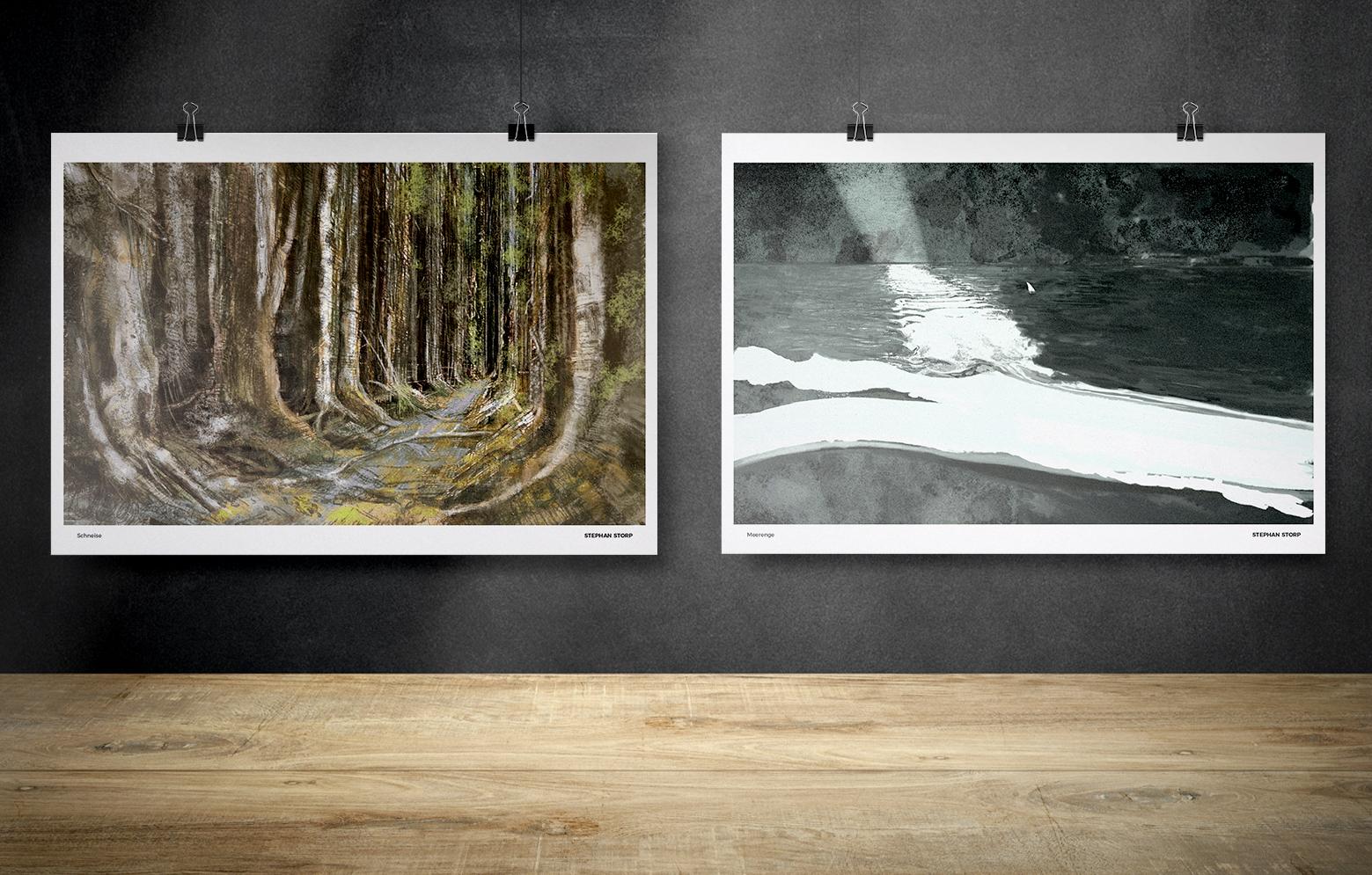 """Zwei Prints von Stephan Storp """"Schneise"""" und """"Meerenge"""""""