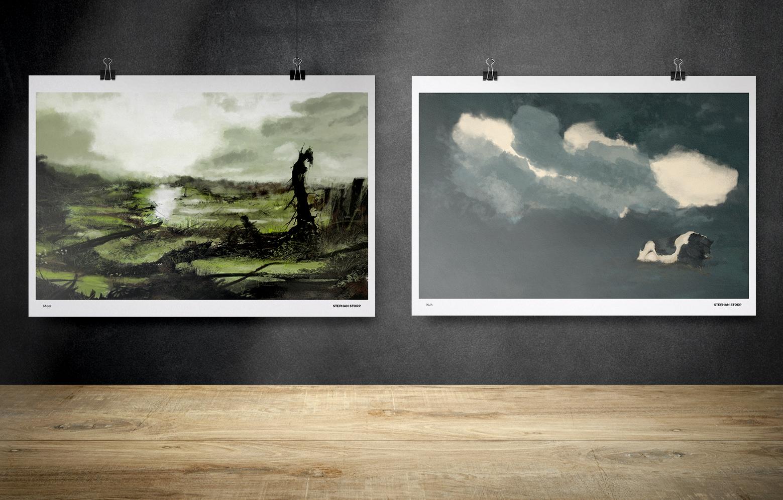 """Zwei Prints von Stephan Storp """"Moor"""" und """"Kuh"""""""